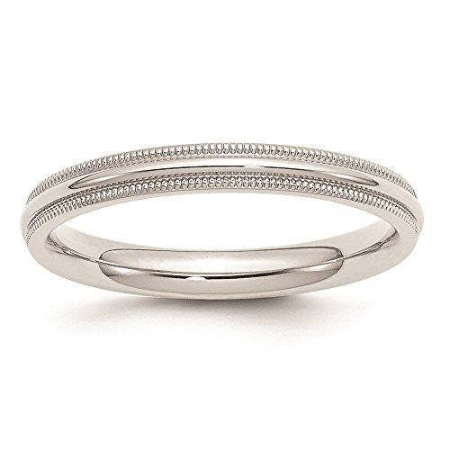 Venture Silver Wedding Bands 925 Sterling 3mm Comfort Fit Milgrain Ring Band Available In Sizes 4 13 Full Pinterest