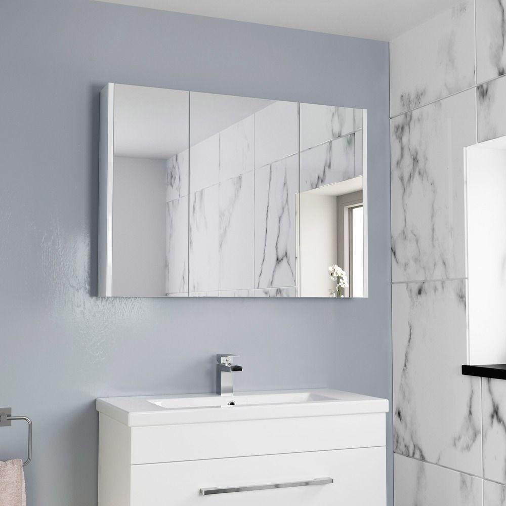 Aurora White Gloss 3 Door Mirror Cabinet 900mm Width Bathroom Mirror Cabinet Bathroom Mirror Wall Mounted Bathroom Cabinets