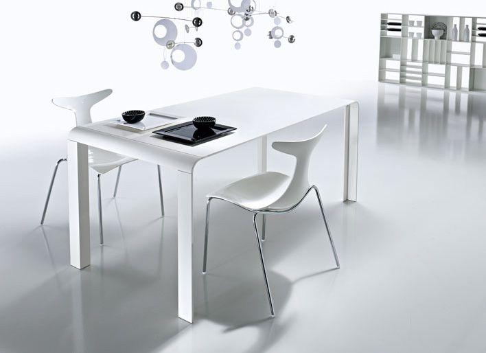 Slim White Futuristic Dining Table Dining Room Design Modern
