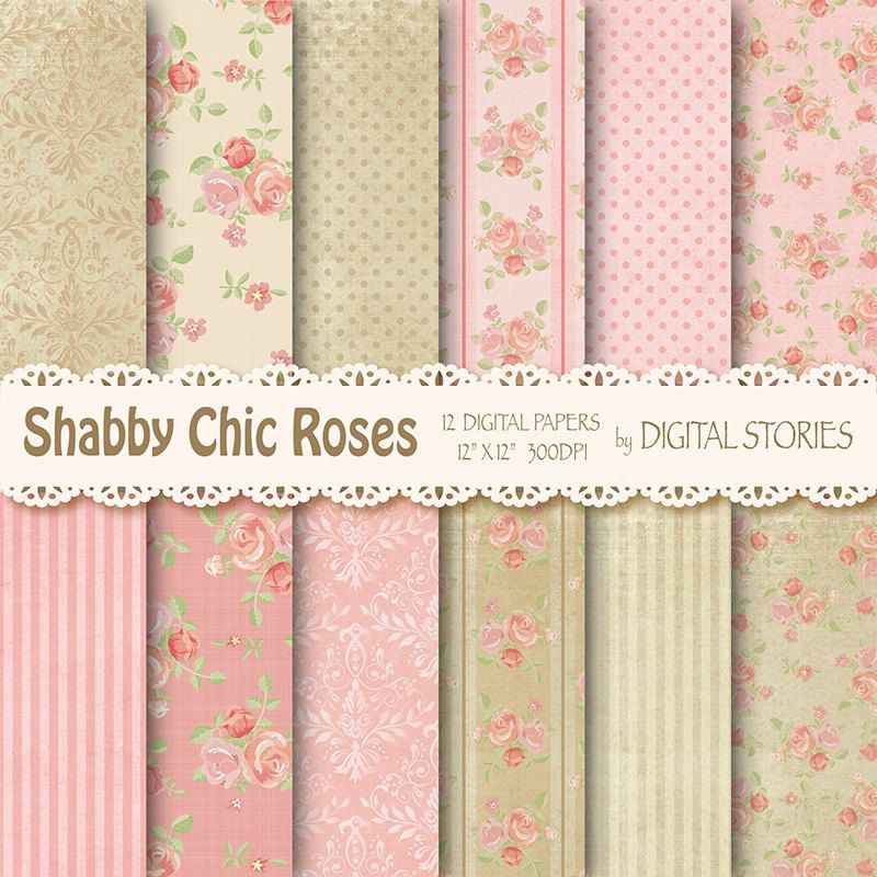Shabby Chic Digital Paper SHABBY PINK BEIGE Floral Vintage Background With Roses For
