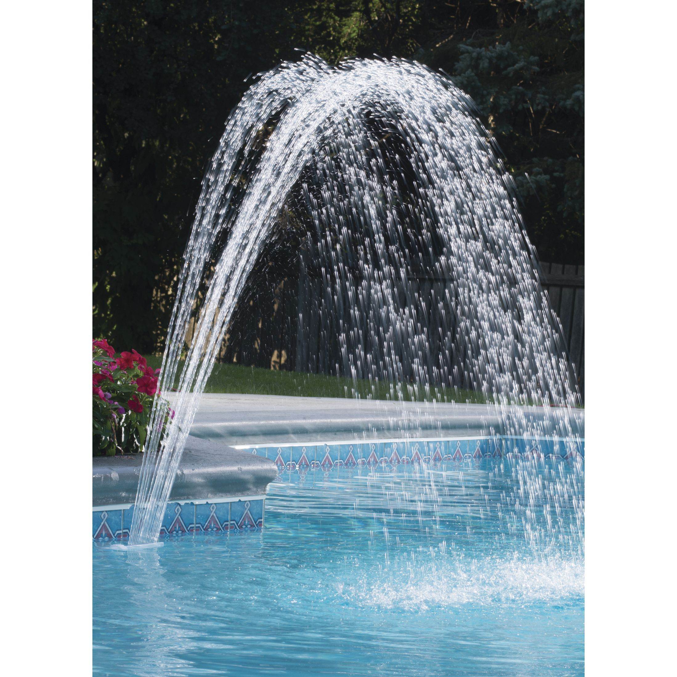 The Ocean Blue Waterfall Fountain Is Designed For Above