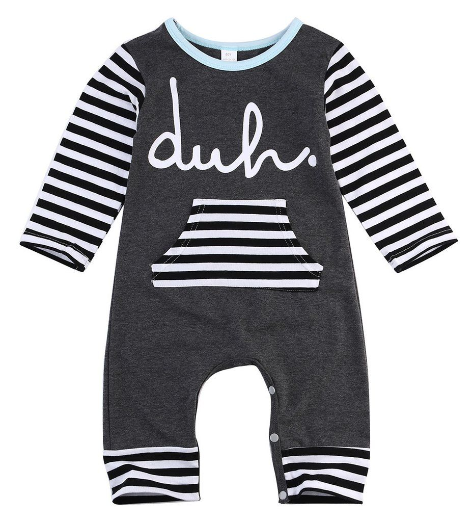 Cotton Romper Infant Body Suit Letter Long Sleeve Striped Clothes
