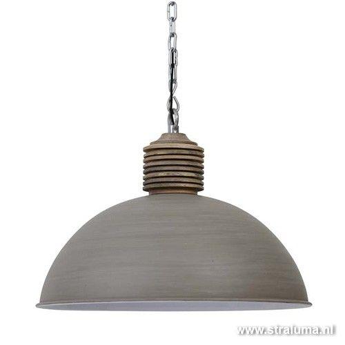 Betonlook hanglamp Avery met hout - www.straluma.nl | Verlichting ...