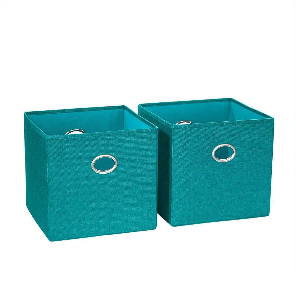 Riverridge Home 10 5 In X 10 In Turquoise Folding Storage Bin 2 Pack Fabric Storage Bins Storage Bins Fabric Storage