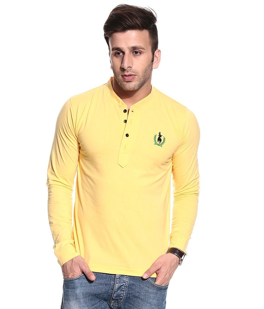Loved it: Posh 7 Yellow Full Cotton Blend Henley  T-Shirt, http://www.snapdeal.com/product/posh-7-yellow-full-cotton/1385921489