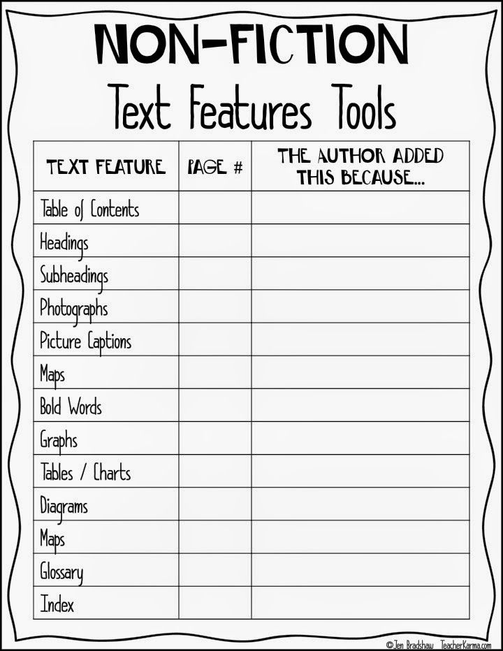 Non-Fiction text feature chart to improve reading comprehension ...
