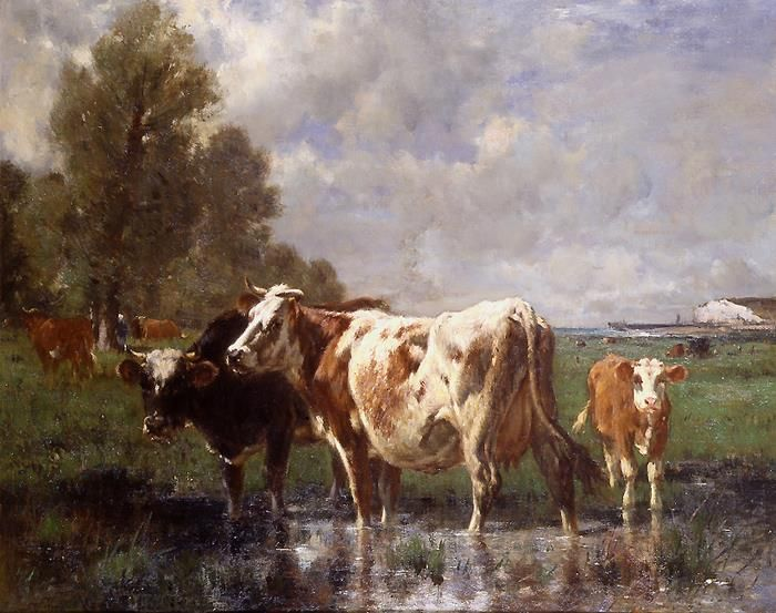 Old Master Art Antique Oil Painting Wildlife Animal Portrait Cow On Canvas Animal Paintings Antique Oil Painting Art Paintings For Sale