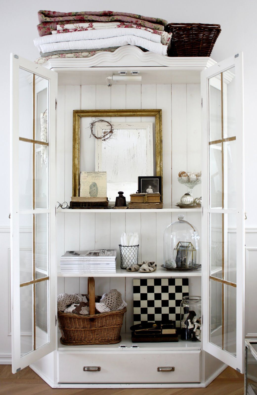 China Cabinet As Display Case, Living Room. White, Black