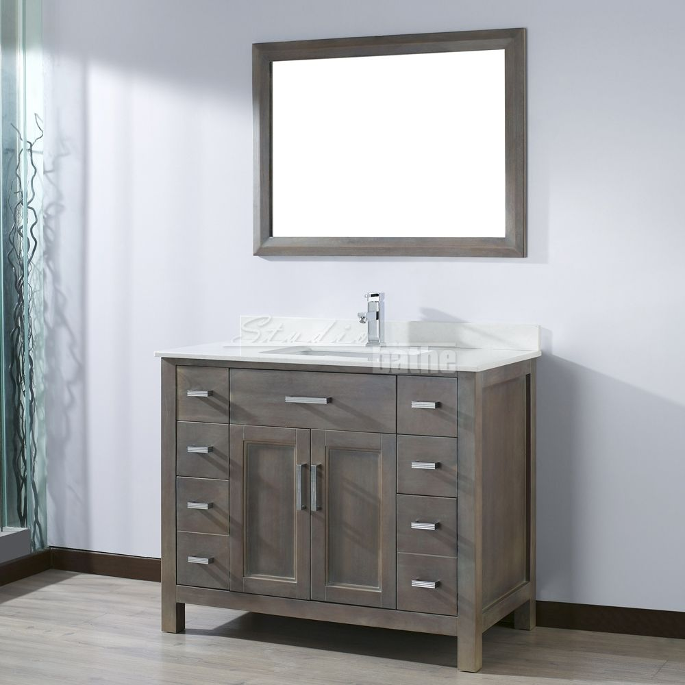 Kelly 42 inch french gray finish bathroom vanity Bathroom cabinets gray