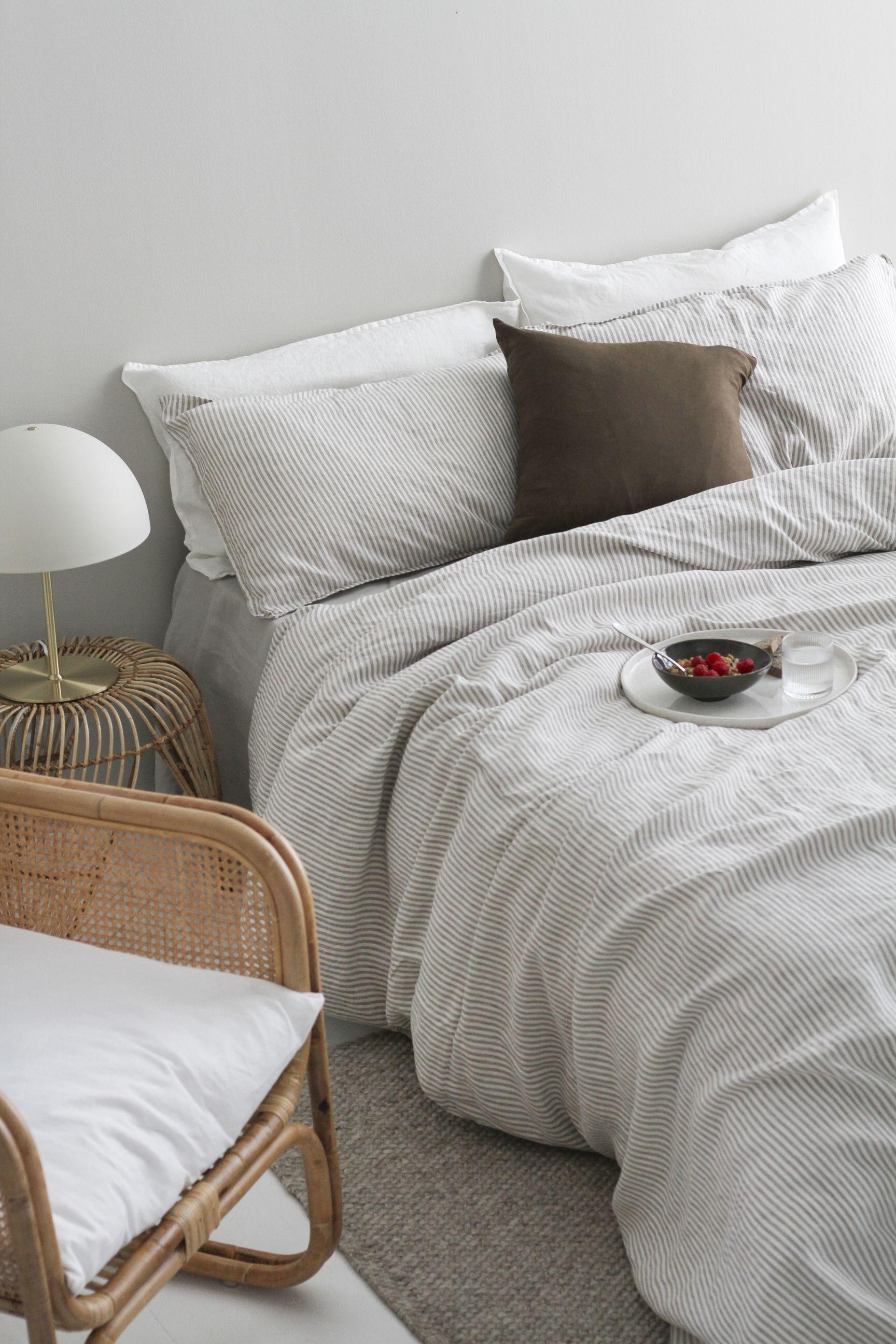 A&C Flax Linen Duvet Cover Stripe Grey Linen duvet