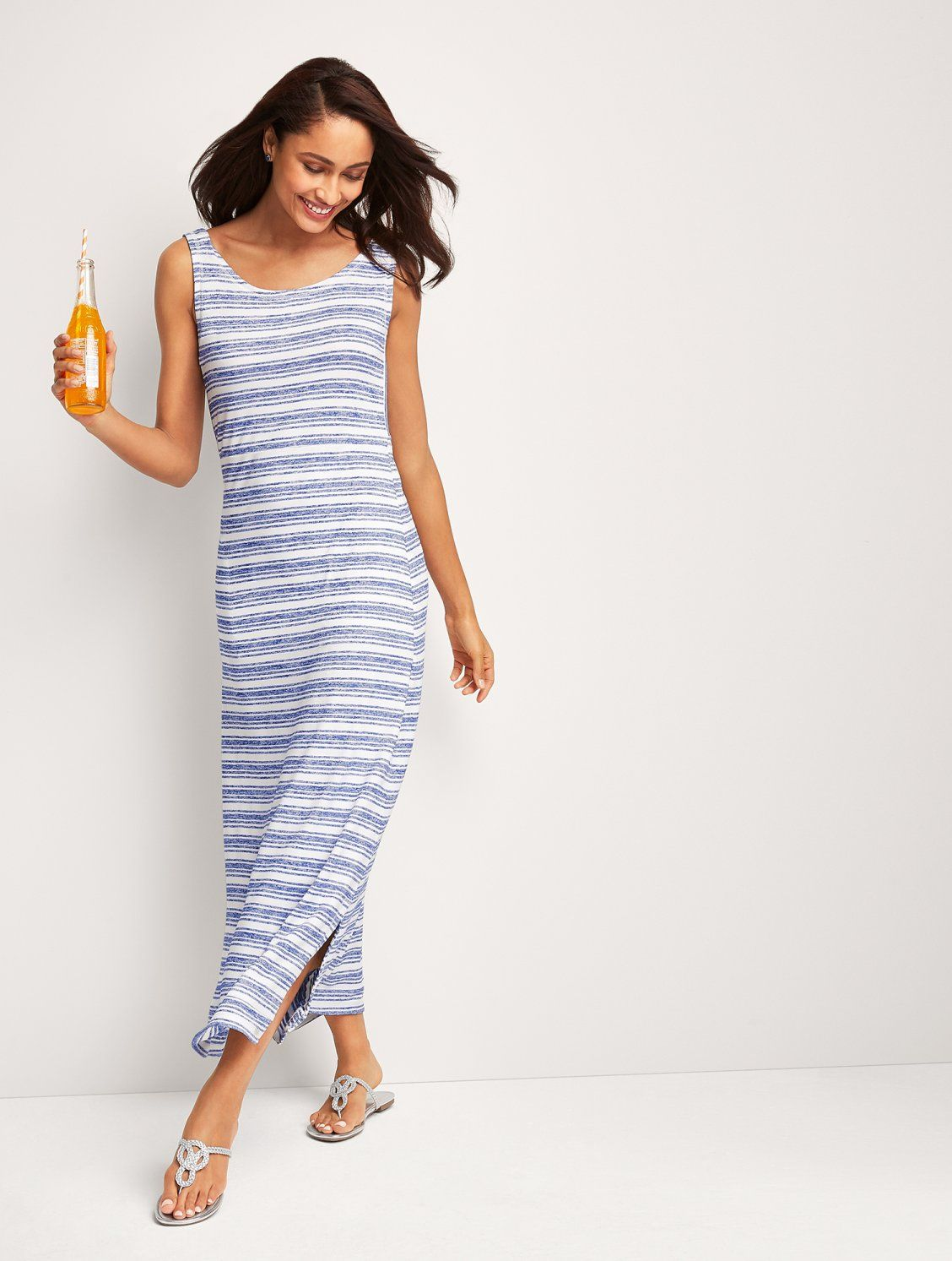 Super Flattering And Oh So Comfy Our Tie Back Maxi Dress Is Your Next Feel Good Go To Side Slits Off Striped Maxi Dresses Maxi Dresses Casual Summer Dresses [ 1493 x 1128 Pixel ]