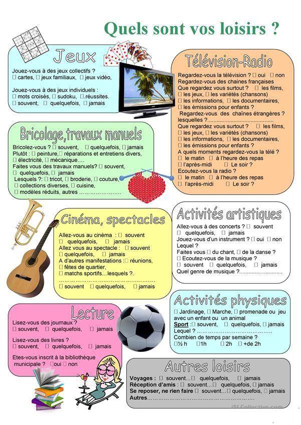 Quels sont vos loisirs? | Französisch und Schule