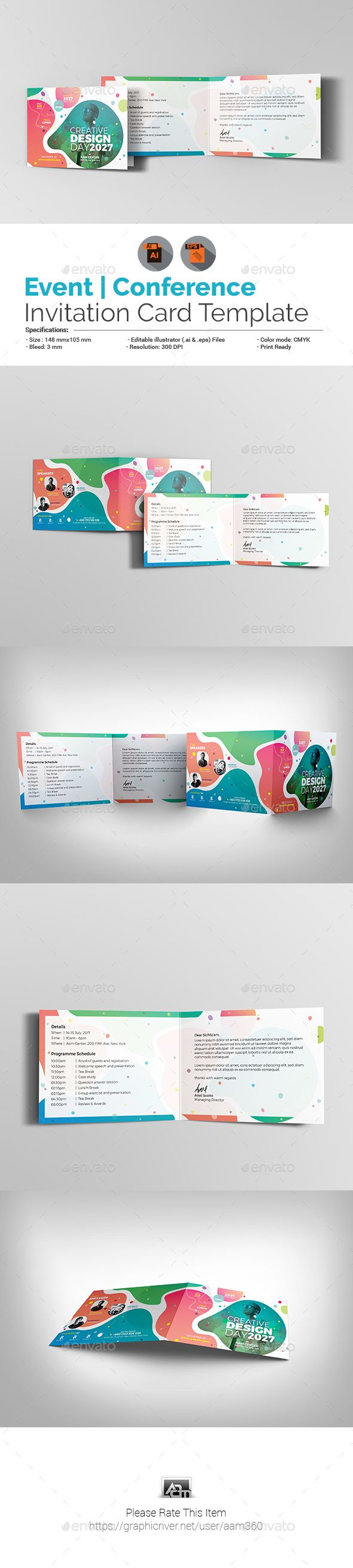 Event Conference Invitation Card Template Vector Eps Ai