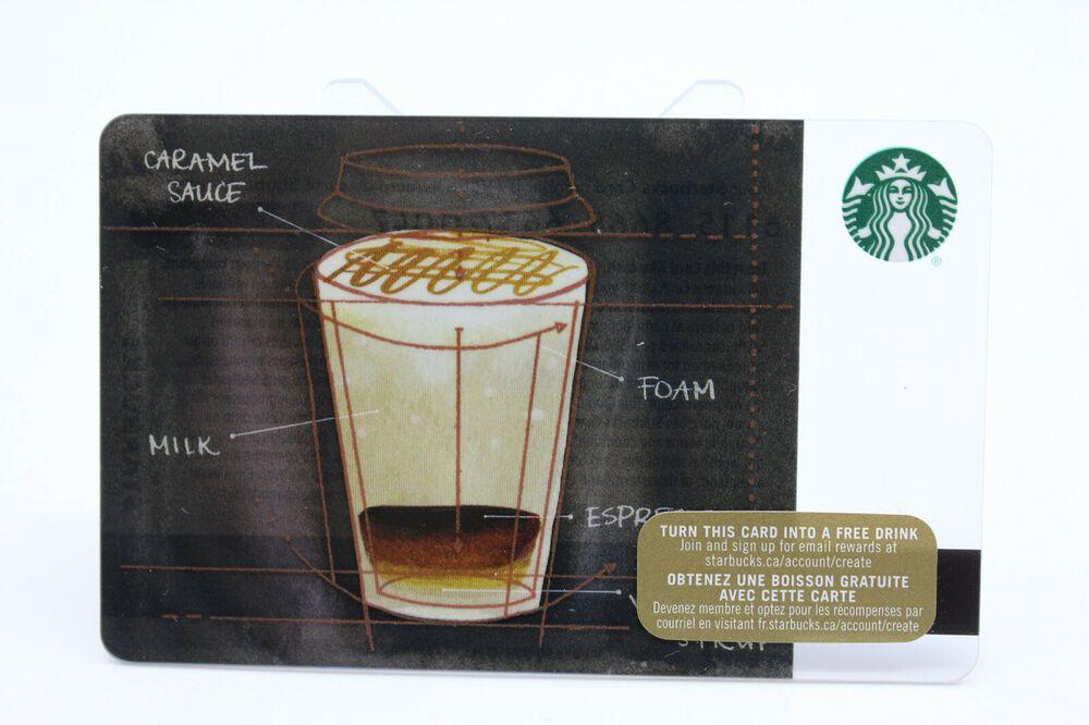 Starbucks 2015 gift card coffee blue print caramel sauce