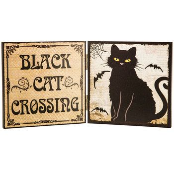 Black Cat Crossing Hinged Wood Decor 1020 South ways to paint and - hobby lobby halloween decorations