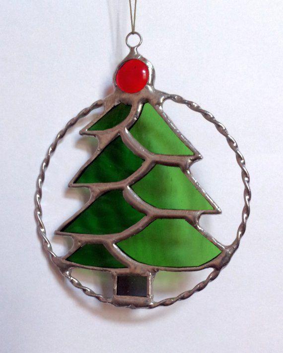 Christmas NewYear\u0027s Tree Round Pendant Stained Glass by DizArtEx