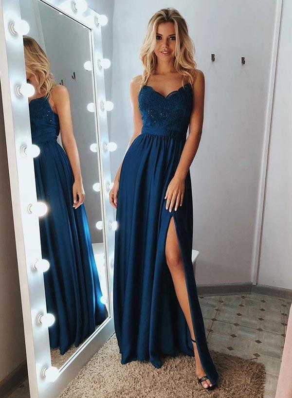 Blue lace long prom dress, blue evening dress