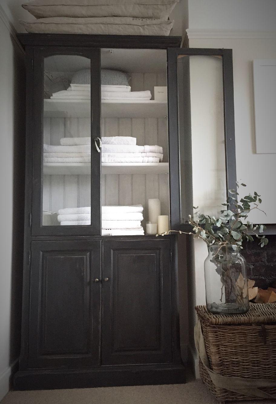 Vintage Black Large Linen Cupboard Available Www.livedandlived.co.uk  #vintagefurniture
