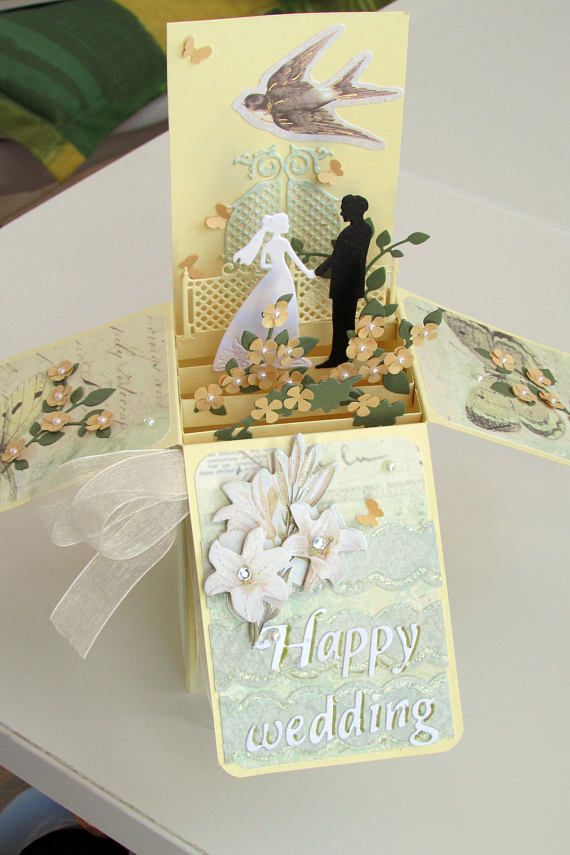 Wedding Card In A Box Wedding Pop Up Card Wedding 3d Card Card Box Wedding Pop Up Box Cards Exploding Box Card