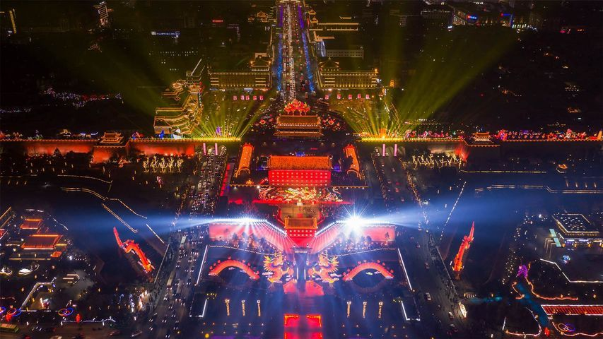 The Chinese New Year celebration in Xi'an, China in 2020
