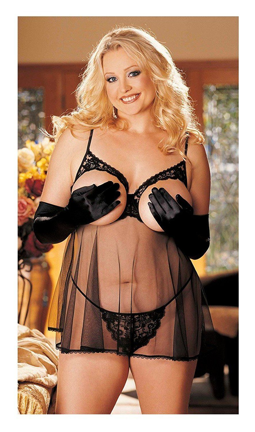 af122b156 Adam €‡s Temptation Women €‡s Luscious Black Sheer Mesh Open Cup Babydoll  Plus   Insider s special review you can t miss. Read more   Plus size  lingerie