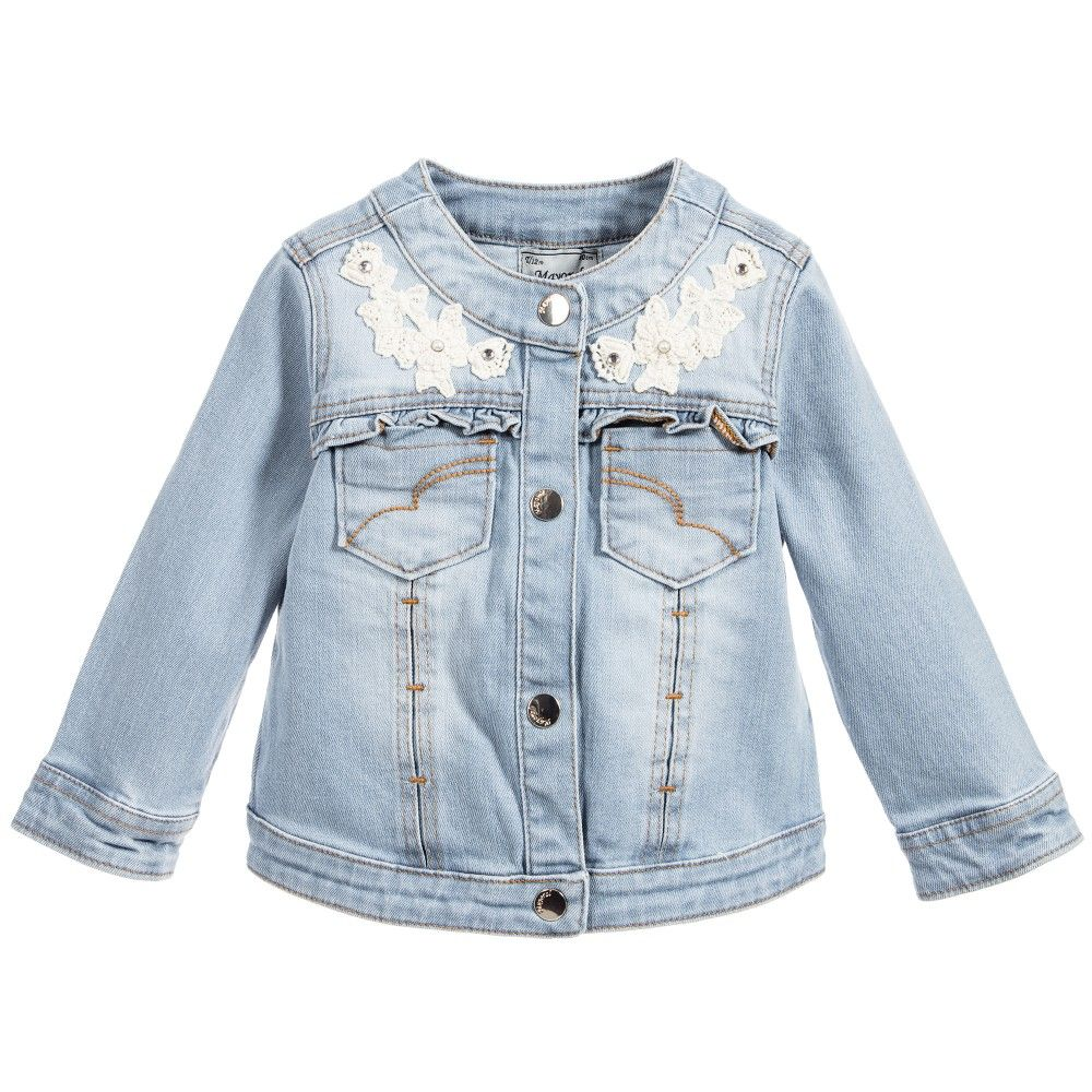 Baby Girls Washed Blue Cotton Denim Jacket | Babies and Kids online