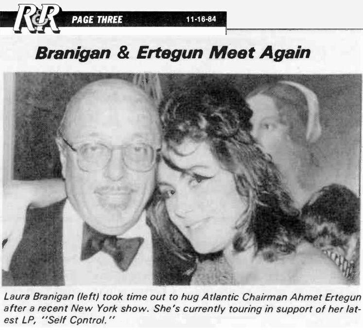 Laura Branigan 1984 With Atlantic Record S Founder Ahmet Ertegun Atlantic Records Music Magazines Laura