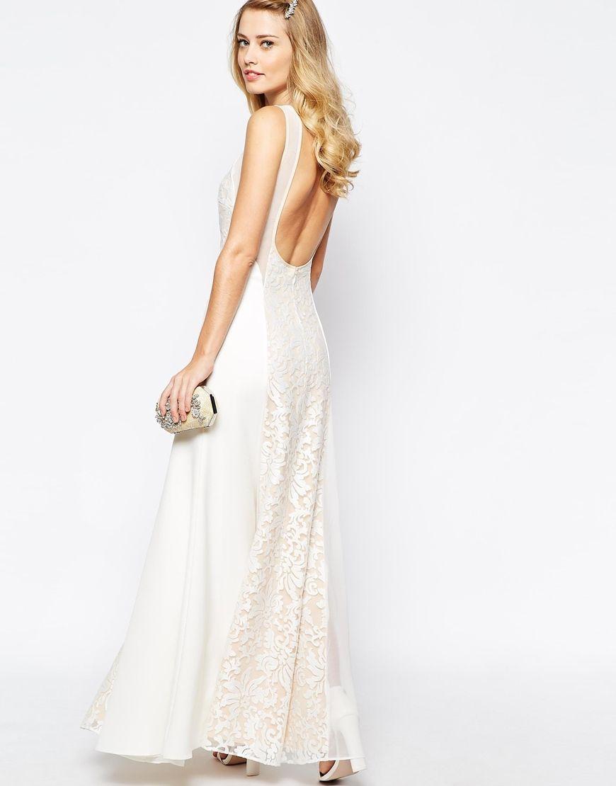 Jarlo beatrix lace panel maxi dress with low back prom dress