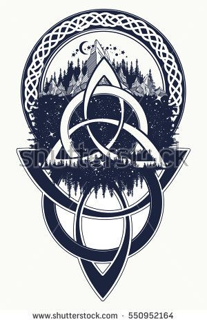 f03d95819 Celtic knot tattoo. Mountain, forest, symbol travel, symmetry, tourism  t-shirt design. Celtic tattoo in ethnic style