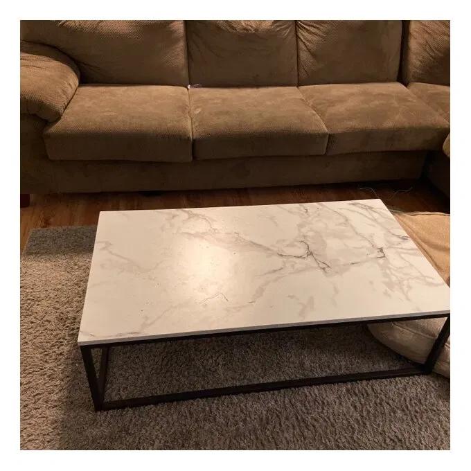 Table Basse Noir En Marbre Et Fer Forge Meuble Sur Mesure En 2020 Table Basse Noire Table Basse Table Basse Acier