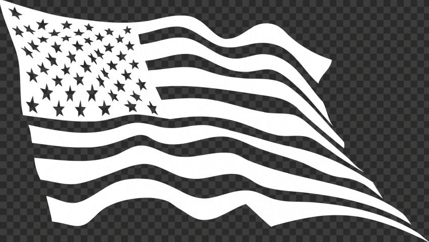 White Outline Waving United States Usa Flag Usa Flag Outline Flag