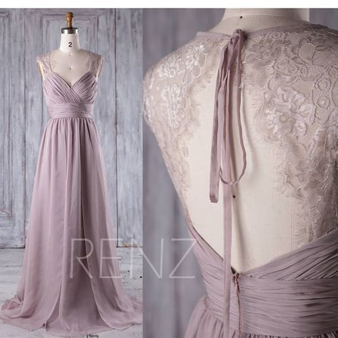 Bridesmaid Dress Rose Gray Chiffon Wedding Dress,Ruched V Neck Prom ...