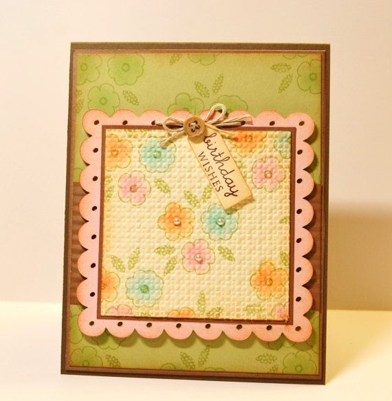 Flower Trio Handmade Birthday Card, Quilt, Shabby, Vintage, Distressed. $4.50, via Etsy.
