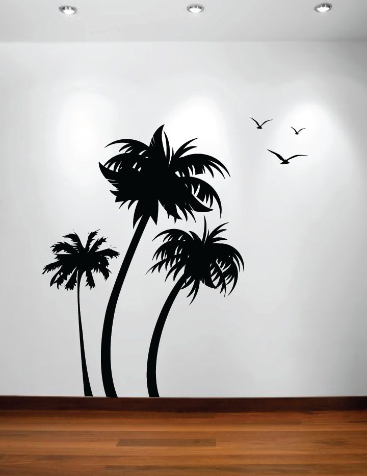Palm Coconut Tree Wall Decal With Birds (3 Trees) #1132