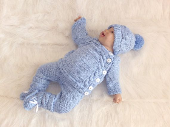 Knitted Baby Boy Coming Home Outfit Knit Baby Outfit Etsy In 2021 Knitted Baby Outfits Crochet Baby Clothes Baby Knitting