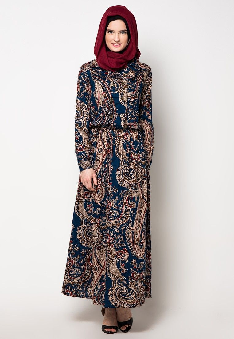 Model gamis batik terbaru kombinasi womenus fashion pinterest