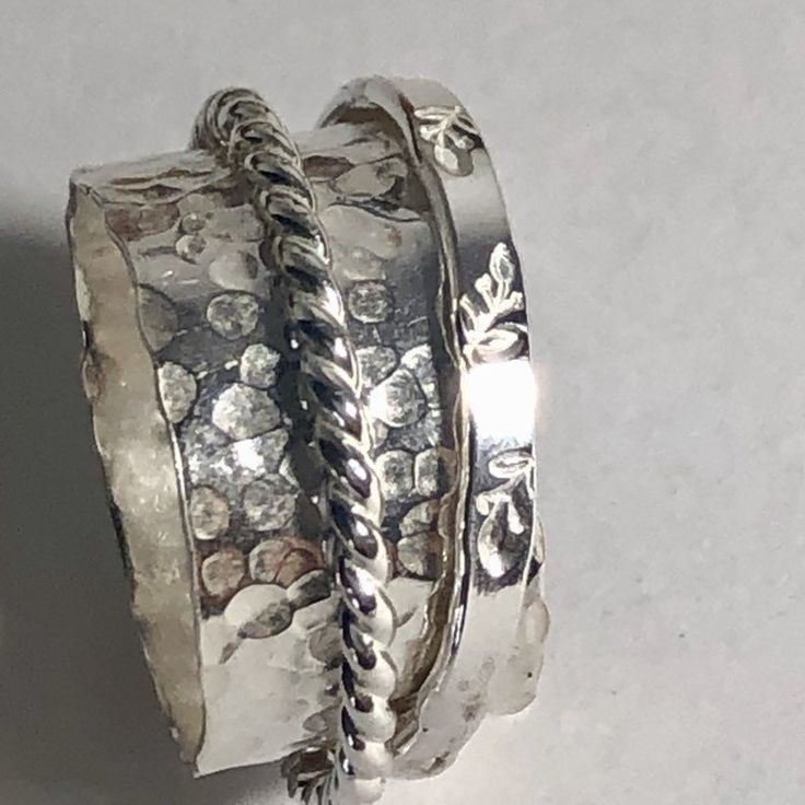 Spinner Ring Silver / Meditation Ring / Anxiety Jewelry for Her / Hand Made Silver Jewelry.   #etsy #silver #silverspinnerring #meditationring #uniquejewelry #riogrande #silversmith