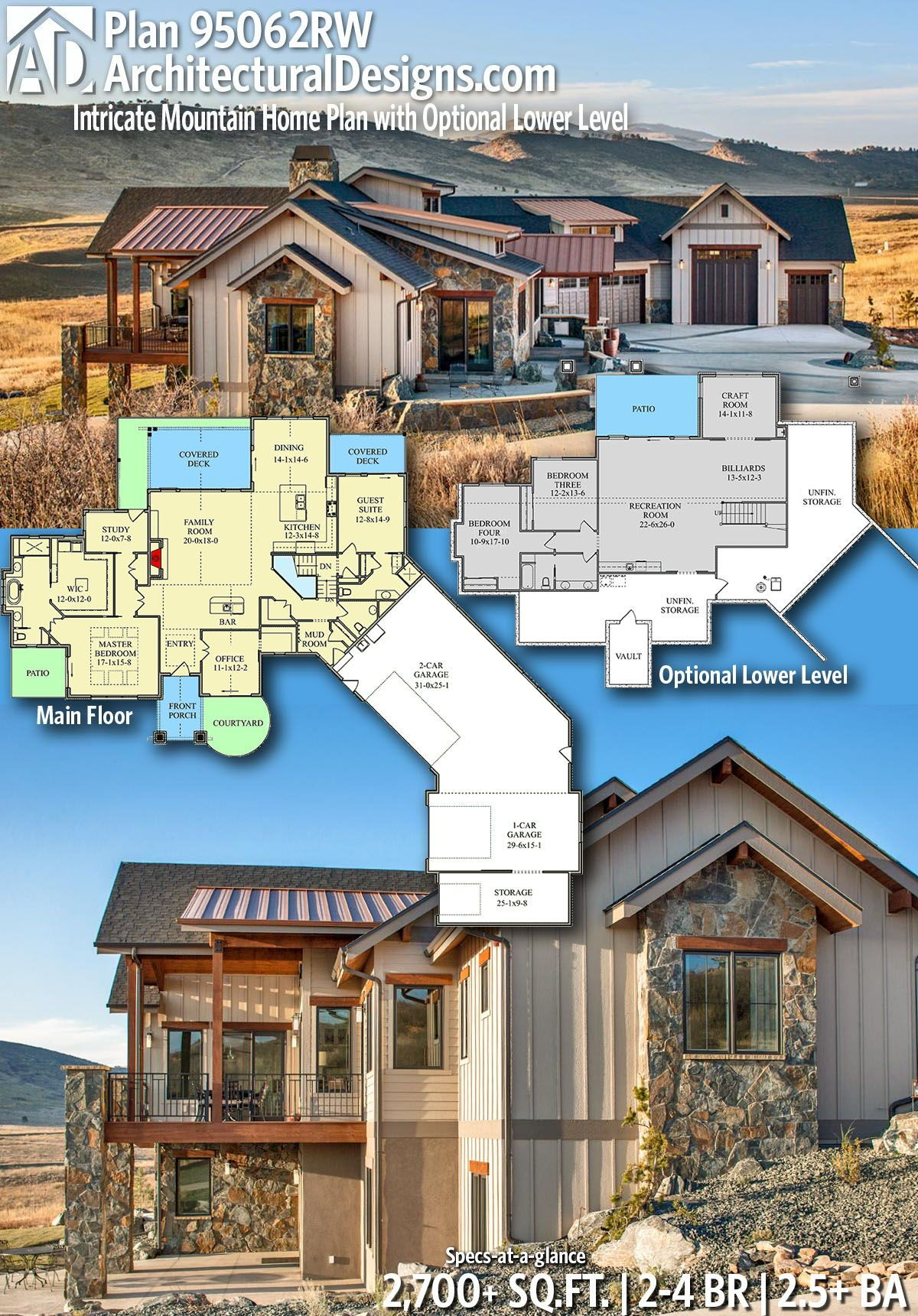 Plan 95062rw Intricate Mountain Home Plan With Optional Lower Level Mountain House Plans Dream House Plans House Plans