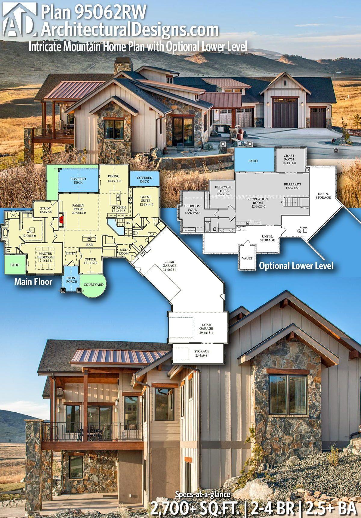 Plan 95062rw Intricate Mountain Home With Optional
