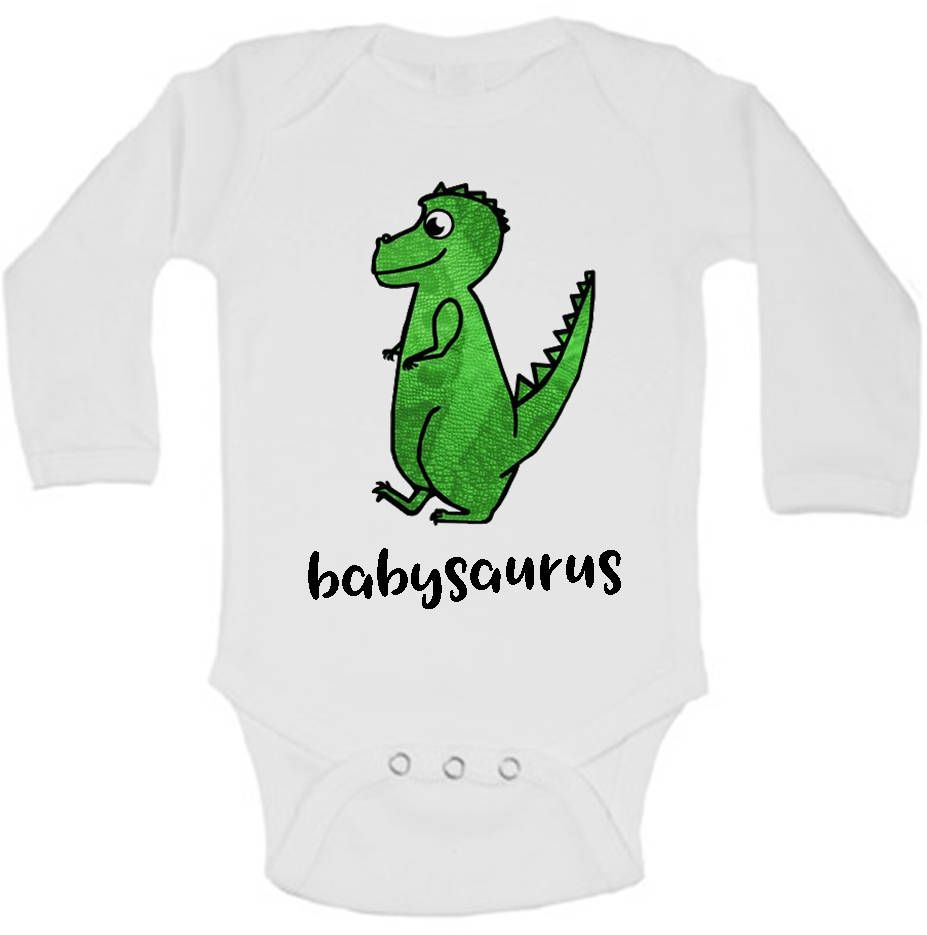 Dinosaur Onesie, Babysaurus Onesie, Funny Baby Clothes, Dinosaur Baby Clothes, Dinosaur Baby Shower, Dino Baby Shower, Cute Baby Clothes is part of Baby Clothes Dinosaur - custombabyclothespersonalizedbaby ♥ View all of our adorable items here www adelynroseboutique etsy com ♥ Care Instructions Wash with cold water and gentle soap insideout and hang to dry  Please do not use bleach   Best wishes and happy shopping! Rosi Note that the trademark ONESIES® is owned by Gerber Childrenswear, LLC  Terms  ONESIES,   ONESIE,   ONSIE,  and anything similar are all used in accordance with Gerber Childrenswear, LLC's policies  These terms are in reference to and describe genuine Gerber Childrenswear products that may be used by Adelyn Rose Boutique