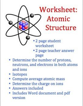 atoms and atomic structure worksheet worksheets students and chemistry. Black Bedroom Furniture Sets. Home Design Ideas