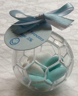 Preferenza bomboniera comunione pallone da calcio scatolina plexiglass  IC65