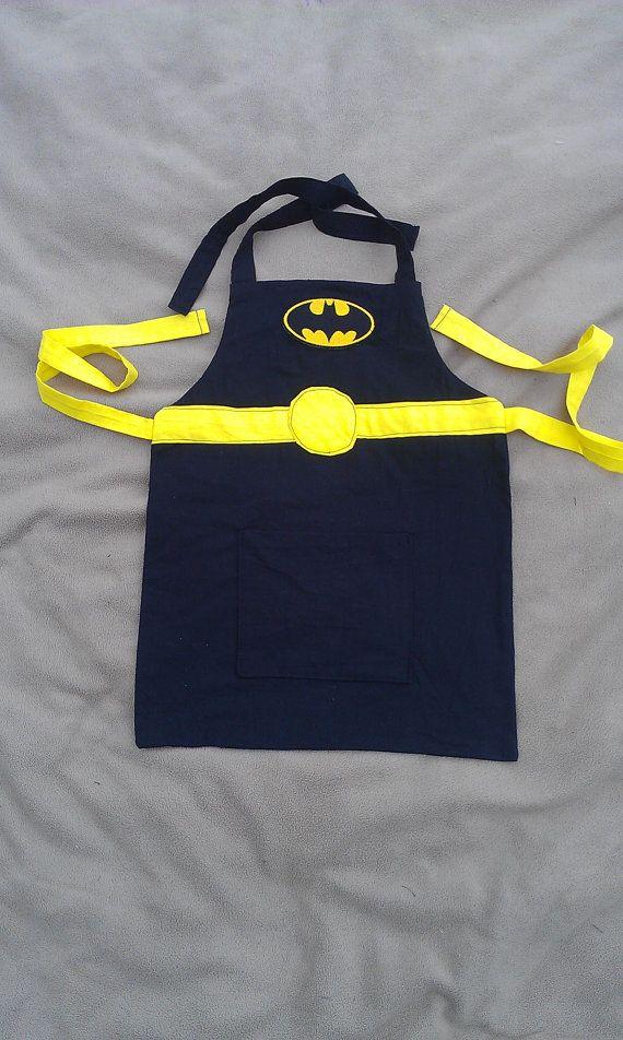 Batman Apron Unisex Child by hatzNthangz on Etsy, $24.99 Batman apron for boys, nerdy apron for kids, aprons for boys,