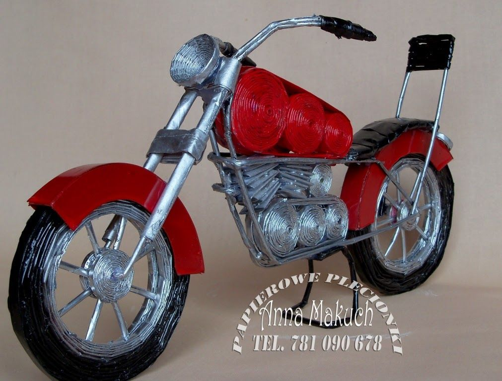 Papierowe Plecionki Papierowa Wiklina Motocykl Newspaper Crafts