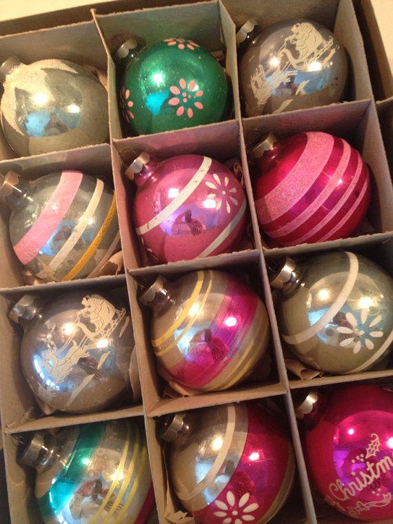 Vintage Shiny Brite 1940s Large Christmas Ornaments in Original Box - Vintage Shiny Brite 1940s Large Christmas Ornaments In Original Box