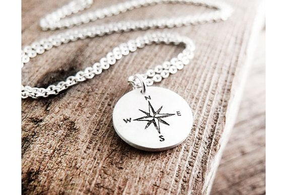 Tiny compass rose necklace - silver - graduation jewelry travel