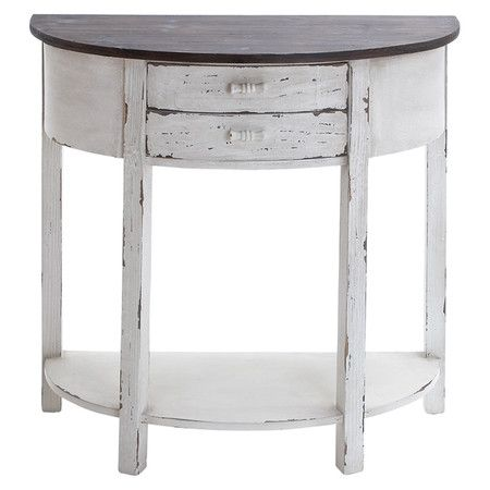 2 drawer wood demilune console table in chocolate and distressed white with an open bottom shelf White demilune console table