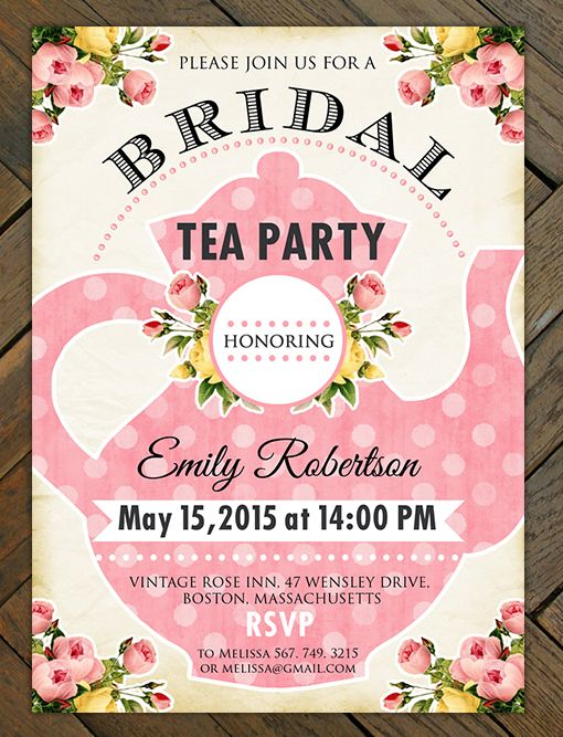 Printable bridal shower tea party invitation bridal shower custom tea party bridal shower invitations are available at boardman printing filmwisefo Images