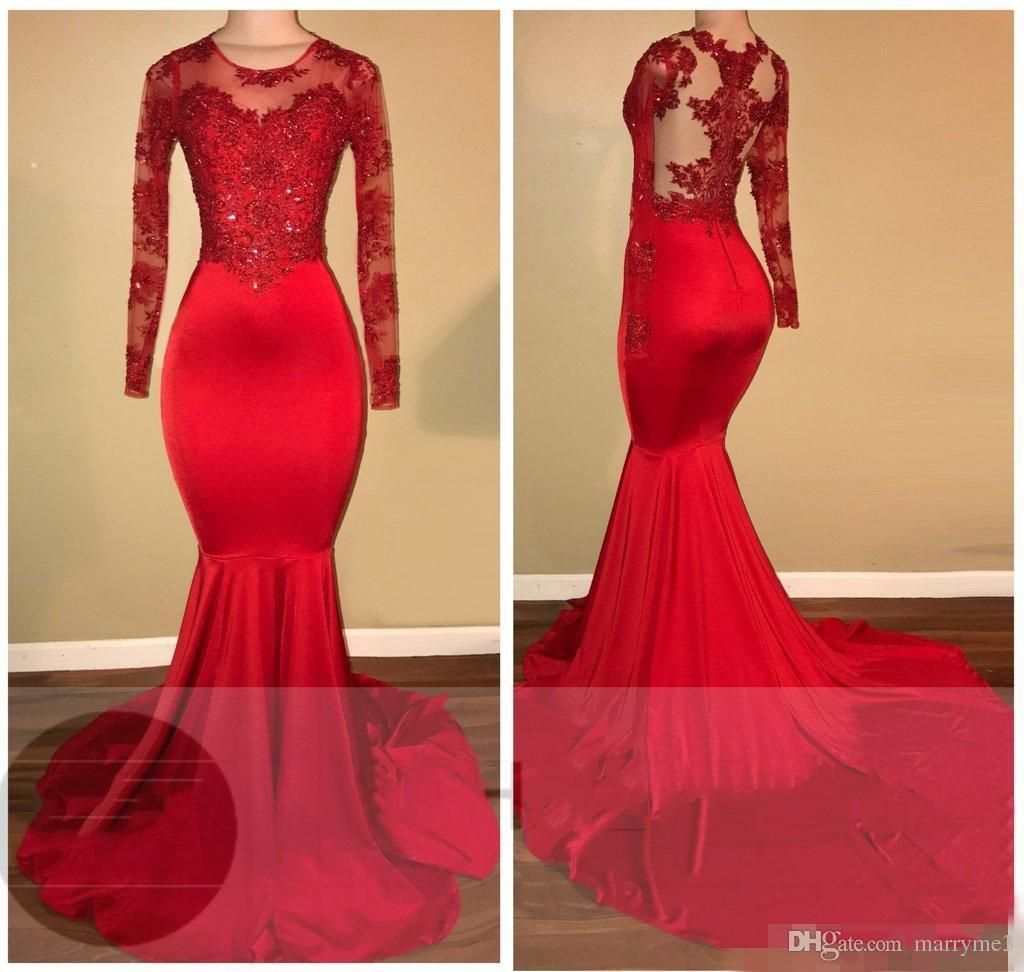 Cheap Sexy Red Mermaid Prom Dresses Long Sleeve Jewel Lace