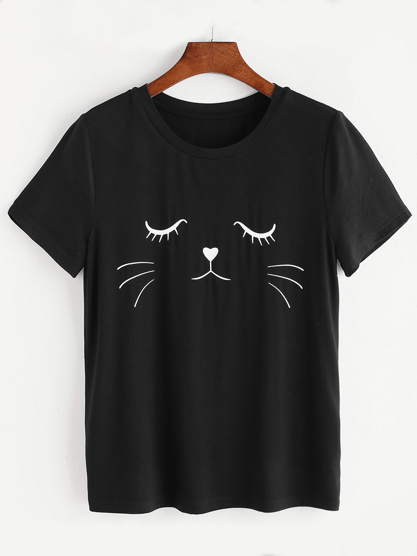 46f67c27145 Shop Black Cat Print Short Sleeve T-shirt online. SheIn offers Black Cat  Print Short Sleeve T-shirt   more to fit your fashionable needs.